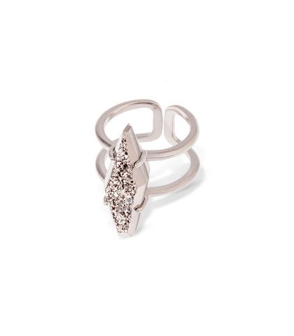 Kendra Scott Boyd Cocktail Ring In Plantinum Drusy Silver
