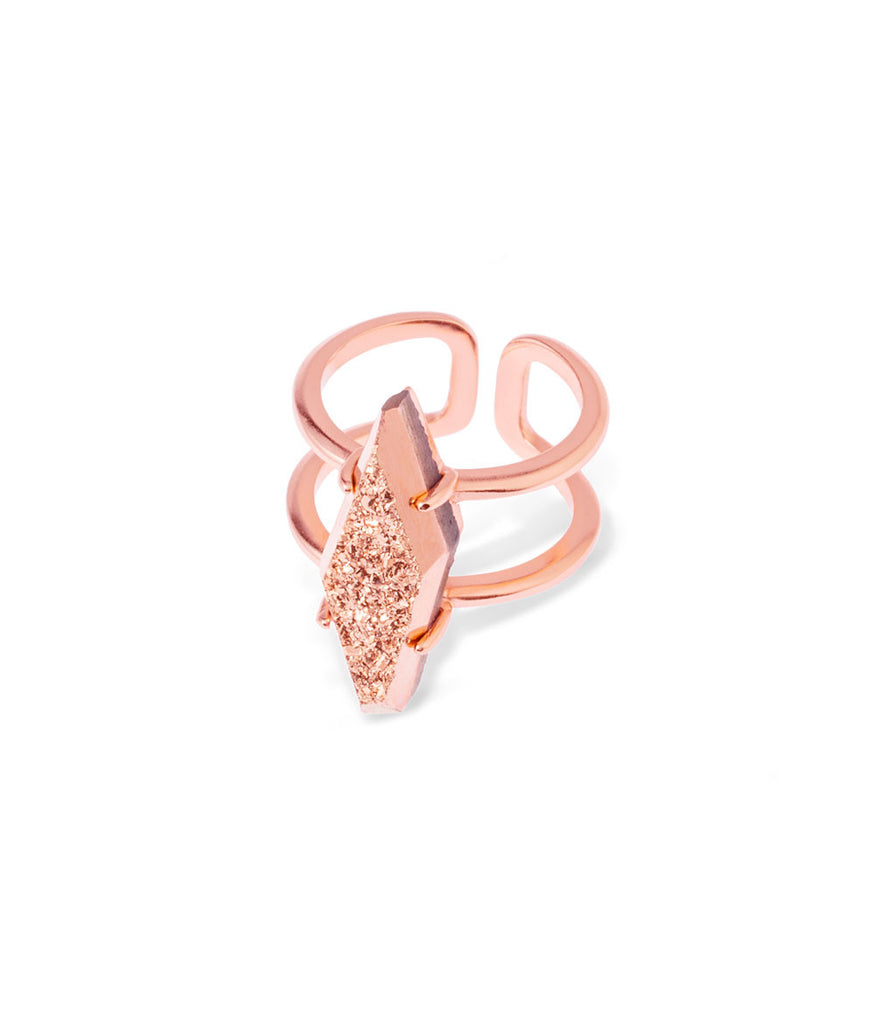 Kendra Scott Boyd Cocktail Ring In Rose Drusy Rose Gold