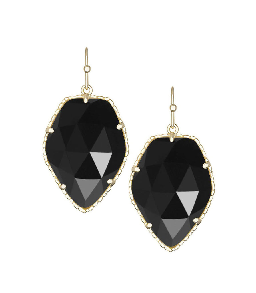 Kendra Scott Corley Black Opaque Glass Earrings 14K Gold Plated