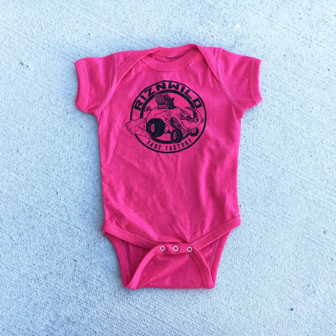 Eli Fast Baby Onesie in Heather Hot Pink