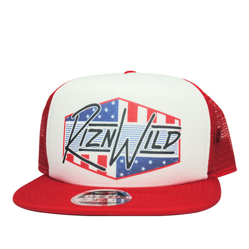 RIZNWILD | Men's Flat Bill Red, White and Blue trucker hat