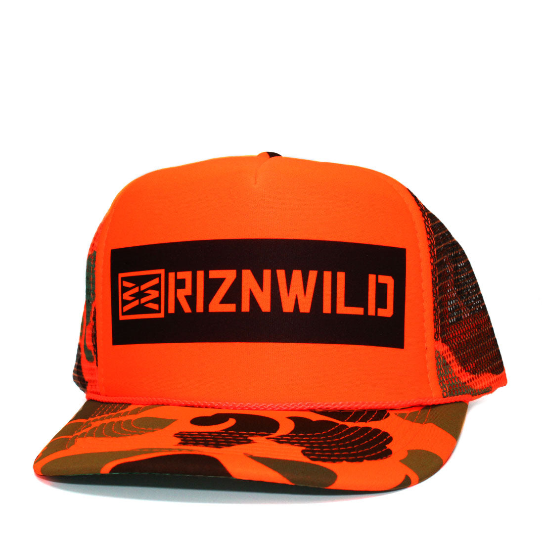 RIZNWILD | Neon Orange camo outdoors wilderness trucker hat