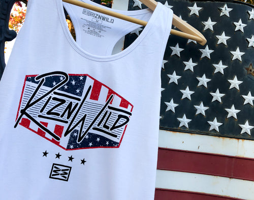 RIZNWILD | Red, White, and Blue soft girls tank top