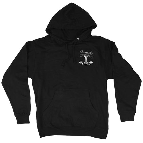 RIZNWILD | Men's pullover hoodie black classic wrenching design