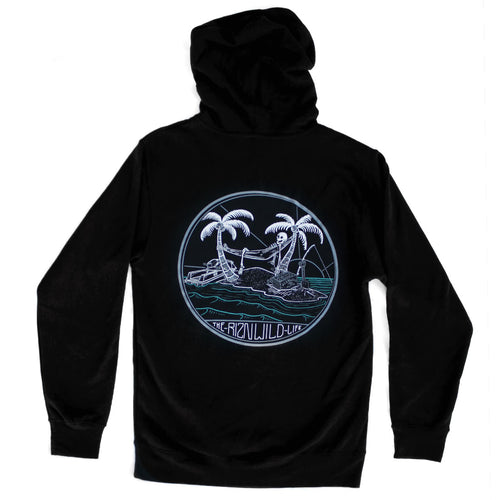 RIZNWILD | Men's black pullover hoodie island, palm trees, skeleton, run, jet ski, design