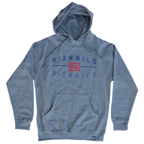RIZNWILD | Men's pullover hoodie Athletic heather red white and blue logo