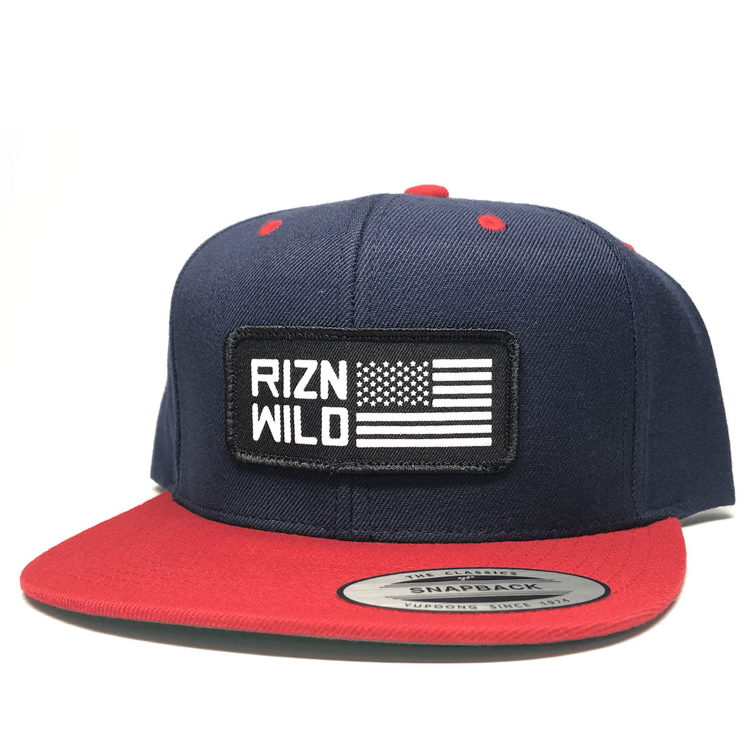 RIZNWILD | Snapback hat red, white, and blue american flag patch