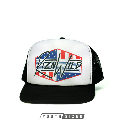 RIZNWILD | Youth black and white foam trucker hat Patriotic colors