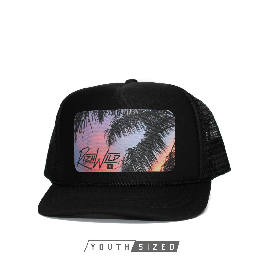 RIZNWILD | Youth black trucker hat with cool colorful sunset design
