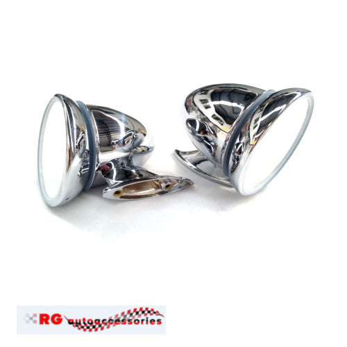 FORD ESCORT MK1 BULLET STAINLESS MIRRORS UNIVERSAL PAIR RS MEXICO SEDAN OR COUPE