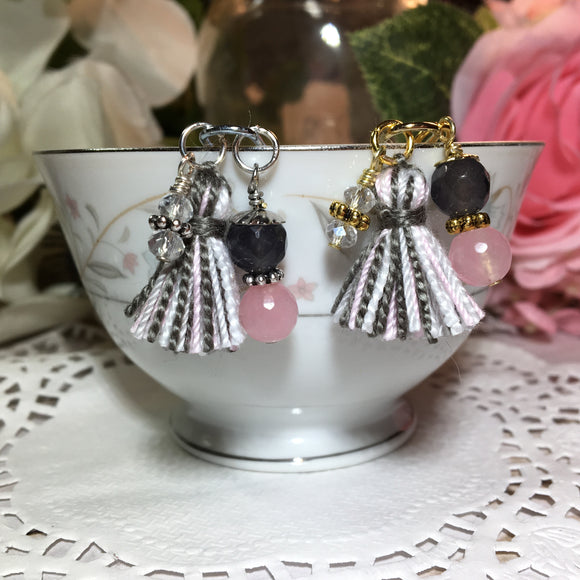 Pink & Gray Dangle Clip