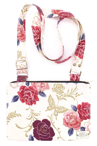 Crossbody Bag in Flowers on White