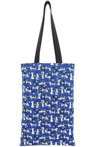Tote Bag in Cats and Dots on Blue