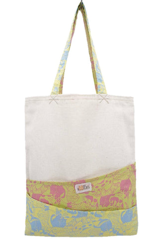 Tote Bag in Pink-Green and Blue-Yellow Cats