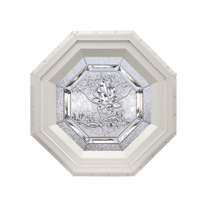 Bevelpane Octagon Window with Rose Deco Beige