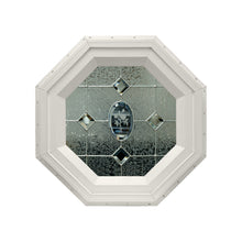 Flower Stationary Octagon Window with Zinc Caming Beige