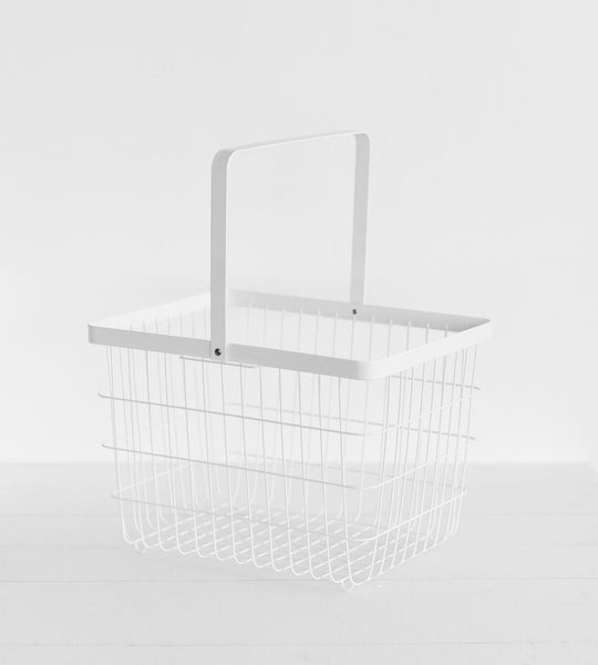 Yamazaki | Tower Wire Laundry Basket | Medium | White
