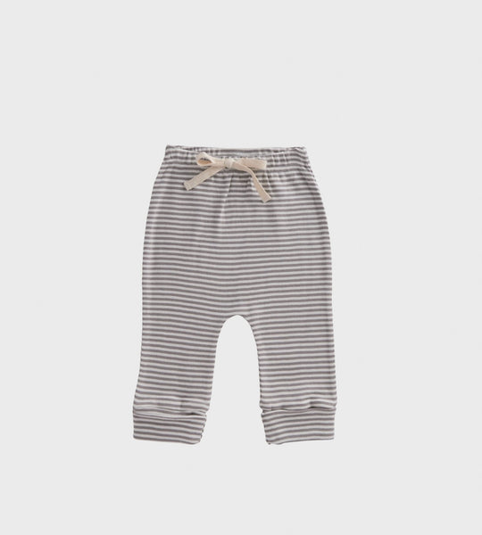 Nature Baby | Cotton Drawstring Pants | Grey Stripe