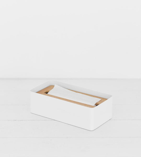 Yamazaki | Rin Tissue Box Case With Lid | White