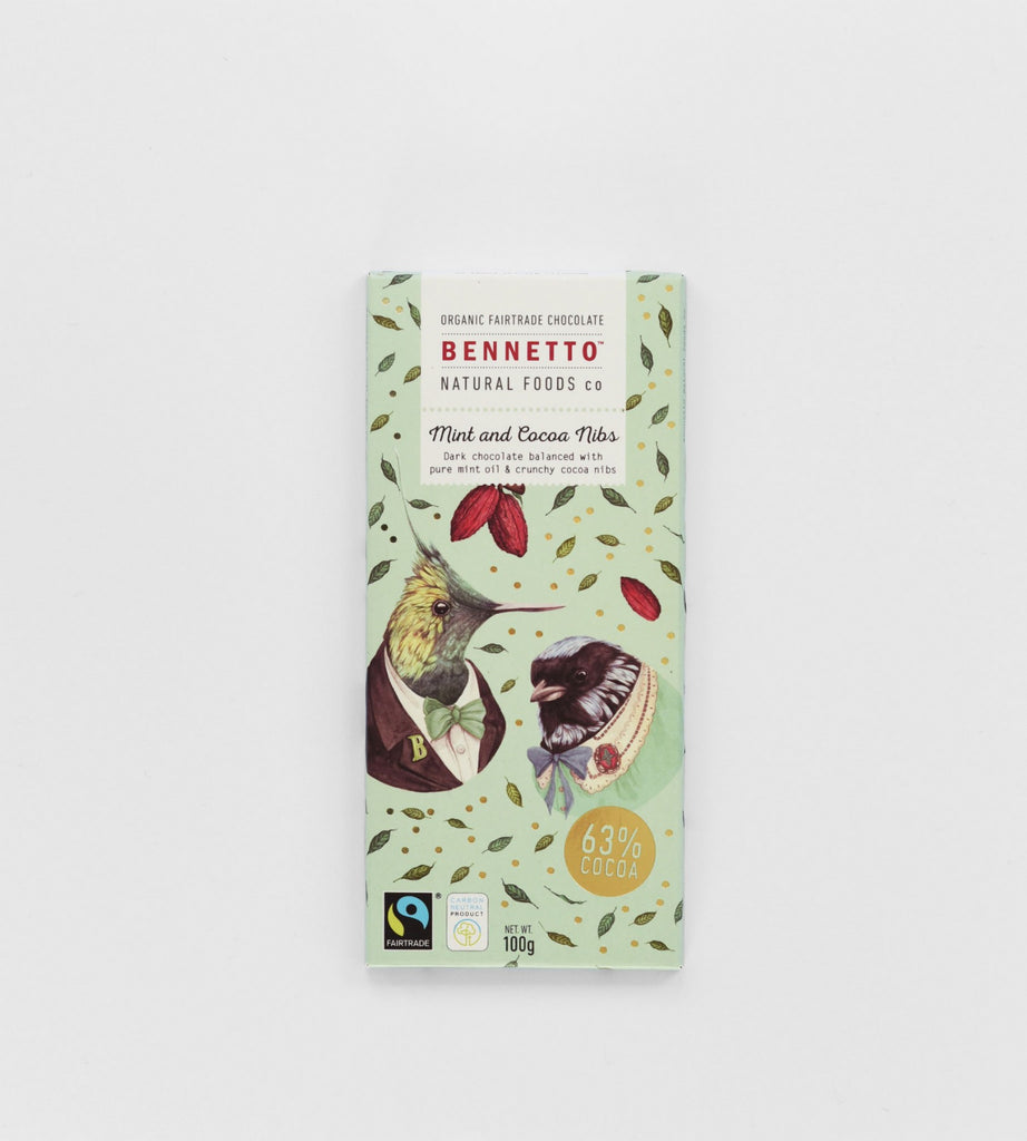 Bennetto Chocolate Bar | Mint & Cocoa Nibs