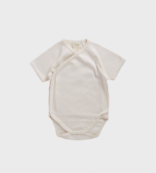 Nature Baby | Short Sleeve Kimono Bodysuit | Natural