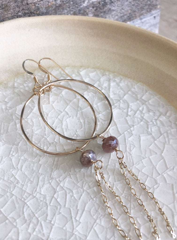 Quinn Sharp Jewelry Designs - Gold Circle Hoops with Gemstone Rondelle and Chain
