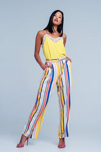 Mustard Striped Print Pants