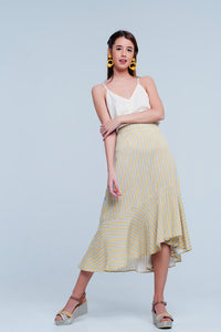Mustard Striped Print Midi Skirt