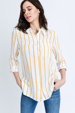 Mustard Roll Up Sleeves Striped Shirt