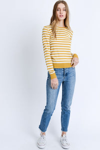 Mustard Striped Knit Top