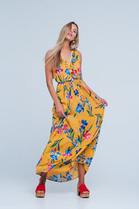 Yellow Floral Print V Neck Dress