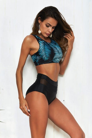 Black Mesh High Waist Bikini Bottom Swimsuit Set