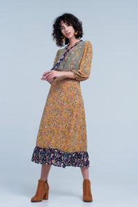 Multi Color Floral Midi Dress