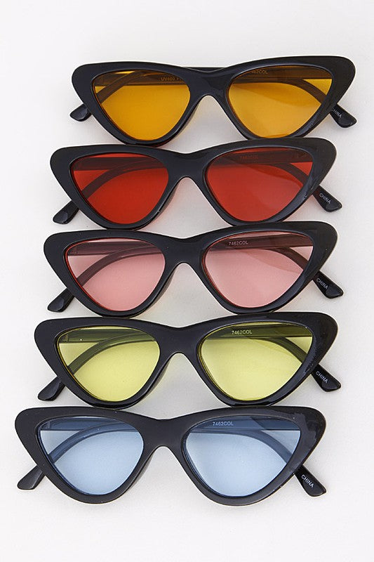 Colored Lens Tinted Cat Eye Fashion Sunglasses - Nofashiondeadlines