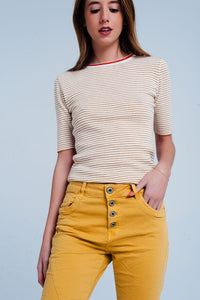 Mustard Striped Short Sleeve Sweater