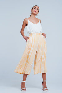 Yellow Striped  Culotte Pants