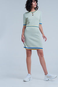Yellow Striped Short Sleeve Dress