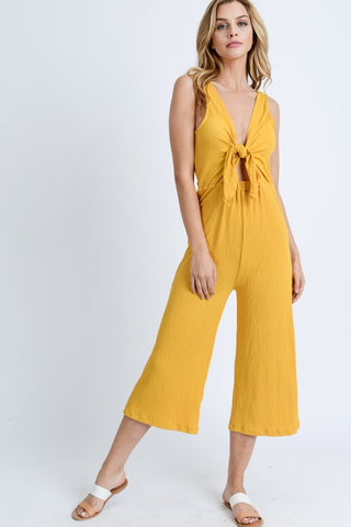 Yellow Knotted Detail Sleeveless Jumpsuit