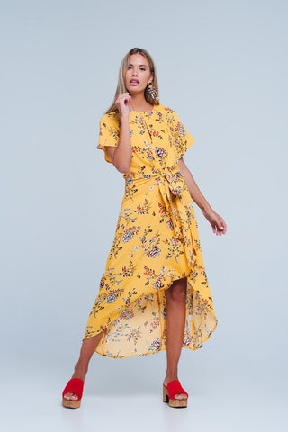 Yellow Tie Front Floral Midi Dress