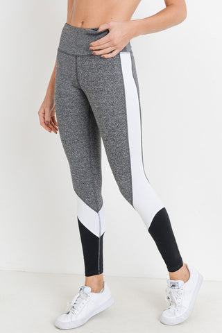 Black and Grey High-waist Triple Threat Color-block Leggings