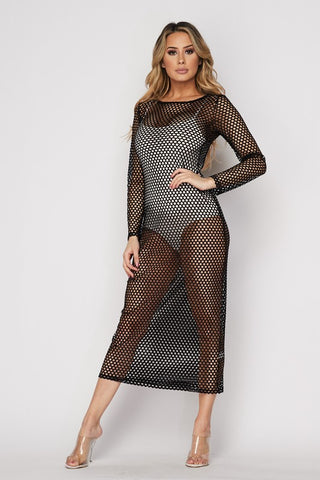 Fishnet Mesh Long Sleeve Dress