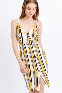 Yellow Striped Cami Midi Dress