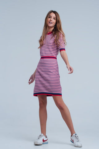 Red Striped Short Sleeve Dress