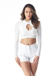 Ivory Long Sleeve Keyhole Crop Top - Nofashiondeadlines