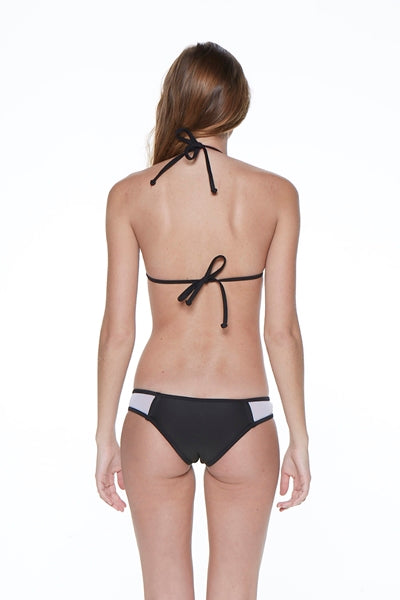 Mesh Insert Triangle Black and White Bikini Swimsuit - Nofashiondeadlines