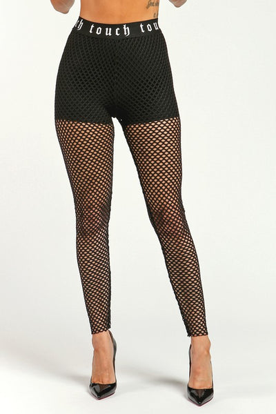 Red Touch Fishnet Leggings - Nofashiondeadlines