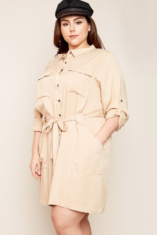 Taupe Plus Size Long Sleeve Shirt Dress With Waist Tie