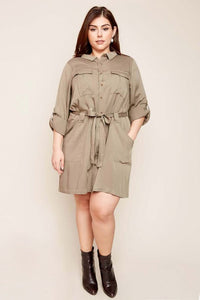 Olive Plus Size Long Sleeve Shirt Dress With Waist Tie