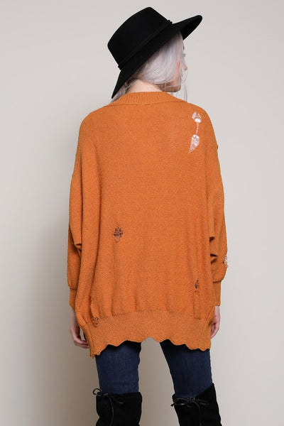 Distresses Long Cardigan Sweater - Nofashiondeadlines