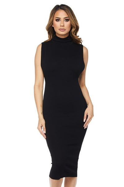 Black Low Armhole Turtleneck Knit Midi Dress - Nofashiondeadlines